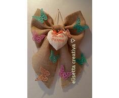 fiocco fuori porta in Juta decorazione Pasqua con farfalle colorate e cuore
