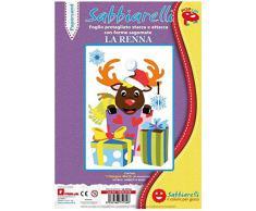 Sabbiarelli Sand-it for Fun - Poster La Renna: 1 Maxi Disegno Adesivo da Colorare con la Sabbia (Non Inclusa), Adatto per Adulti e Bambini, 26x40cm