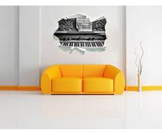 Monocrome, pianoforte antico con foglio di musica Papier aspect 3D, la taille de la vignette mur ou de porte: 92x62cm, stickers muraux, sticker mural, décoration murale