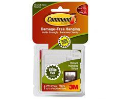 3M Command Set di Strisce Adesive Appendiquadri per Cornici e Quadri, 8 Paia M e 4 Paia S, Istuzioni Solo in Lingua Inglese, Bianco