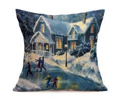 Buon Natale! Kword Natale Biancheria Federe Cuscino Cover Cuscino Divano Casa Decorazione (A)