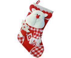 WeRChristmas - Decorazione natalizia a forma di calza, motivo: testa di renna in rilievo, dettagli in tartan, 48 cm