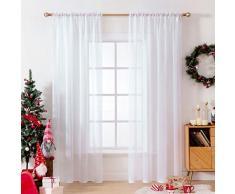 MIULEE Tende Natale 2 Pannelli Trasparenti in Voile con Passanti Morbidi Finestre per Camera da Letto e Soggiorno 140x260cm Bianco