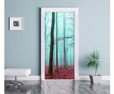 foresta astratta come Murale, Formato: 200x90cm, telaio della porta, adesivi porta, porta decorazione, autoadesivi del portello