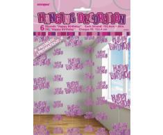 Unique Party 55320 - 1.5 m Decorazioni da Appendere per Compleanno Rosa Brillante, Confezione da 6