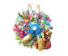 FuyongKang 2021 Nuovo Decorazioni per Pasqua,Ghirlanda pasquali con Coniglio e Uova Colorate, Decorazione Pasquale per Porta dingresso e Finestra, Decorazione pasquali, per la casa, Il Giardino