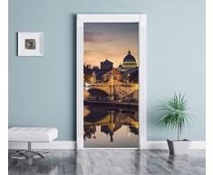 Roma sul Tevere in direzione di Saint-Pierre Cattedrale come Murale, Formato: 200x90cm, telaio della porta, adesivi porta, porta decorazione, autoadesivi del portello