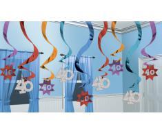 Amscan International - Confezione di 15 decorazioni a spirale The Party Continues per 40° compleanno