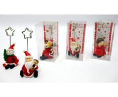Idea bomboniere: idea natale set 6 pezzi segnaposto con soggetto natalizio con clip pinzetta portafoto; 3 soggetti assortiti, misure cm 8*4*9 in scatola vetrina