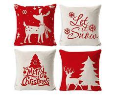 Tscdy 4pz Natale Federa per Cuscini, Buon Natale Cuscini per divani Decorativo Cotone Biancheria Cuscino copricuscini Divano Caso Federa per Cuscino (45x45cm), Natale B