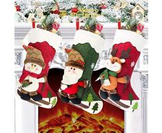 Charlemain Calza di Natale Set 3 Pezzi, Calza Natalizia 46cm Babbo Natale Pupazzo di Neve e Elk Calze Natalizie