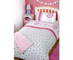 Just Contempo - Copripiumino misto cotone con stampe variegate, set di biancheria da letto per bambini e bambine, Cotone, fiore - rosa (bianco ciliegia blu), copripiumino singolo (nursery)