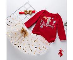 Carolilly 2 Pezzi Completini Neonata Natale Pagliaccetto a Manica Lunga Stampa Alce+Gonna Leopardata Bambina