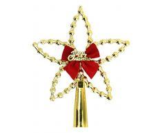 EOZY-Puntale di Stella Christmas con Fiocco Decorazione Albero di Natale Star Top Glitter Ornamento Oro 18*14cm
