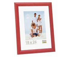 Promo Ideal Cornici In Legno, Molte Dimensioni e Colori, Cornice Foto - Rosso, 18x24