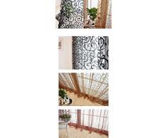 Tenda Tulle Motivo Fiore Floccato Decorazioni Interni Finestre Letto, Misura 100*200cm - Nero