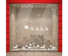 Vetrofania Natale 200x200 CM Vetrofanie Natalizie Vetrine Negozi Natale Sticker Decorativi Finestre, Adesivi Natalizi Murali Vetri Adesivo Babbo Natale Renne, Adesivi Natale case innevate Fiocchi Neve