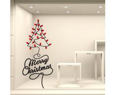 NT0352 Adesivi Murali - Alberello di lampadine - Vetrofanie natalizie - Misure 62x123 cm - nero e rosso - Vetrine negozi per Natale, stickers, adesivi