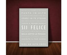 Feel Good Art BH128-19IT Sii Felice Quadro su Tela da Muro, Stile Tipografico Moderno, Grigio, 30 x 20 cm