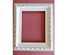 Artecentro Cornice per Quadri - Tele- in Legno con o Senza passepartout Shabby Bianco (Cornice + passepartout, 40 x 60)