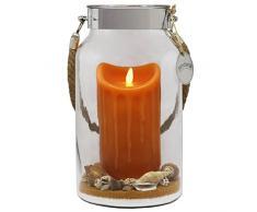 Idea regalo Dekovita 30cm Decoglass LED Cera Candela arancione reale con fiamma in movimento e Deco-Sand Pasqua Compleanno della Festa della Mamma