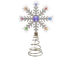 Puntale per albero di Natale, cambia colore, con luci LED a fiocchi di neve