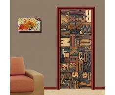 MAIYOUWENG 3D Stickers Porta Adesivo Parati per Poster Adesivo da Porta, Impermeabile Adesivo per Porta - Alphabet Art Pattern - 77x200cm,Regalo di Natale