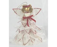 Angelo bianco in piume e organza bordato glitter rossi - Angioletto decorazione da appendere Natale - H.10 cm L.7,5 cm circa
