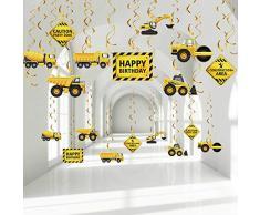 Blulu 30 Pezzi Decorazioni a Spirale Sospesa Festa di Compleanno di Costruzione, Stelle Filanti a Tema Zona di Traffico, Forniture per Feste di Camion, Segnali di Attenzione Turbinii in Lamina Festa