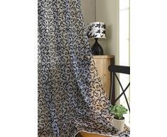 Tenda Tulle Floreale Floccato Per Decorazioni Interni Finestre Letto, Misura 100*200cm - Nero