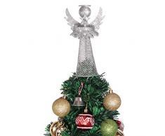 Amosfun, puntale per albero di Natale, a forma di angelo, argentato, in metallo rivestito, per casa, ufficio, centro commerciale