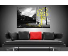 "'Fotoleinwand24 – Stampa su tela ""Banksy"" Graffiti 100 x 70 cm K. Poster. Tela già su telaio. Pop Art dipinto stampe artistiche da parete, immagini, immagini per decorazione – decorazione/immagini da parete Top 200 ""Bansky Streetart"