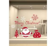 NT0191 Adesivi Murali - Babbo Natale con sacco - Vetrofanie natalizie - 100x70 cm - bianco e rosso - Decorazioni vetrine per Natale, stickers, adesivi