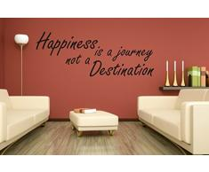 "wall stickers Adesivo murale ""Happiness is a journey ...... "" frasi, desideri, love - (56cm x 20cm) - adesivi murali decorazioni interni by tshirteria"