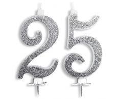 Candeline Maxi 25 Anni di Matrimonio Festa Compleanno 25 Anni | Decorazioni Candele per Torta Anniversario Auguri Torta 25 | Festa a Tema | Altezza 13 CM Argento Glitter