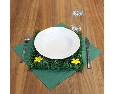 COM-FOUR® 4 Stuoie di Erba Artificiale con Fiori per la Decorazione di Primavera o Pasqua (04 Pezzi - 25 cm x 25 cm)