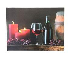 Barile, vino e candele di Natale stampa su tela con luci LED