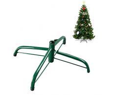 Hzb821zhup - Treppiede in ferro per albero di Natale, supporto in metallo, 30-50 cm, colore: verde, Verde 45 cm., taglia unica