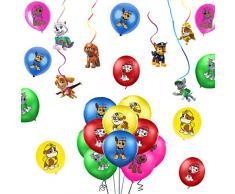 SUNSK Paw Dog Patrol Palloncini Compleanno Lattice Balloons Feste Stelle Filanti Decorazioni Party Decor 26 Pezzo