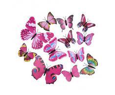 EOZY-3D Colorato Farfalla Adesivo da Parete Frigo Vetro Finestra 12pcs in set-Serie Rosa