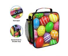 Colorate uova di Pasqua, borsa termica per il pranzo, quadrata, portatile, grande capacità, da viaggio, picnic, scuola, borsa termica per bambini, ragazzi, ragazzi e adolescenti