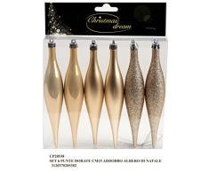 Idea Natale: Set 6 punte decorazioni natalizie oro dorate - lisce opache glitterate - per addobbi albero di Natale