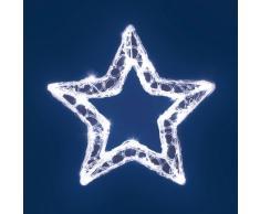 XMASKING Stella a batteria Acrylic Ice, 28 cm, 20 led bianco freddo, cavo trasparente, stella di Natale, stella luminosa, decorazioni natalizie