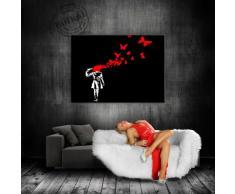 "'Graffiti ""Banksy"" stampa su Leinwand - Quadro 70 x 50 cm K. Poster. 677 # tela già su telaio. Pop Art dipinto stampe artistiche da parete, immagini, immagini per decorazione - decorazione/immagini da parete Top 200 ""Bansky Streetart"