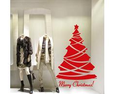 NT0004 Adesivi Murali - Albero gran gala - Vetrofanie natalizie - 88x138 cm - Rosso - Decorazioni vetrine per Natale, stickers, adesivi