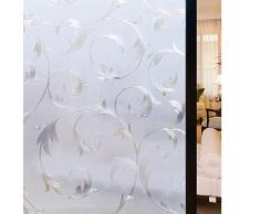 rabbitgoo Pellicola per Vetri Finestre-3D Fiore Decorativa,Autoadesive,Anti-UV90x200cm