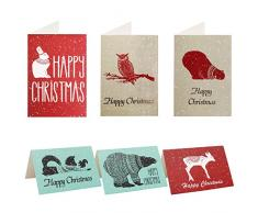 Cartoline Natale con Buste (48Pz) - Biglietti per Natale (15,3 x 10,2 cm) con Disegni di Vari Animali Invernali - Biglietti Auguri Natale per Saluti a Familiari e Amici - Cartoline Natalizie