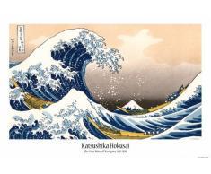 Poster + Sospensione : Katsushika Hokusai Poster Stampa (91x61 cm) La Grande Onda Di Kanagawa E Coppia Di Barre Porta Poster Trasparente 1art1®