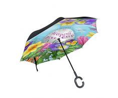 Ombrello invertito a doppio strato Cartolina dauguri di buona Pasqua Ombrello pieghevole inverso Maniglia a forma di C Ombrello da golf da viaggio per auto
