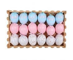 Valery Madelyn Uova Decorative Primaverili 6cm Set 18 Uova Colorate di plastica con Crepe per Pasqua-Blu/Rosa/Bianco